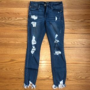 Express Mid-Rise Destroyed Ankle Legging Jeans